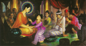 Young Prince Rāhula prompted by his mother to ask for his inheritance, left behind by the Buddha after His renunciation. Instead, the Buddha told Venerable Sariputta (Sariputra) to ordain Prince Rāhula, giving him a spiritual inheritance better than the one he asked for.
