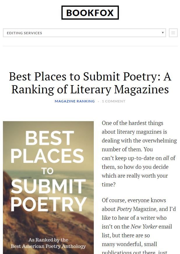 Best Places to Submit Poetry: A Ranking of Literary Magazines by John Fox + updated with payment/submission fees